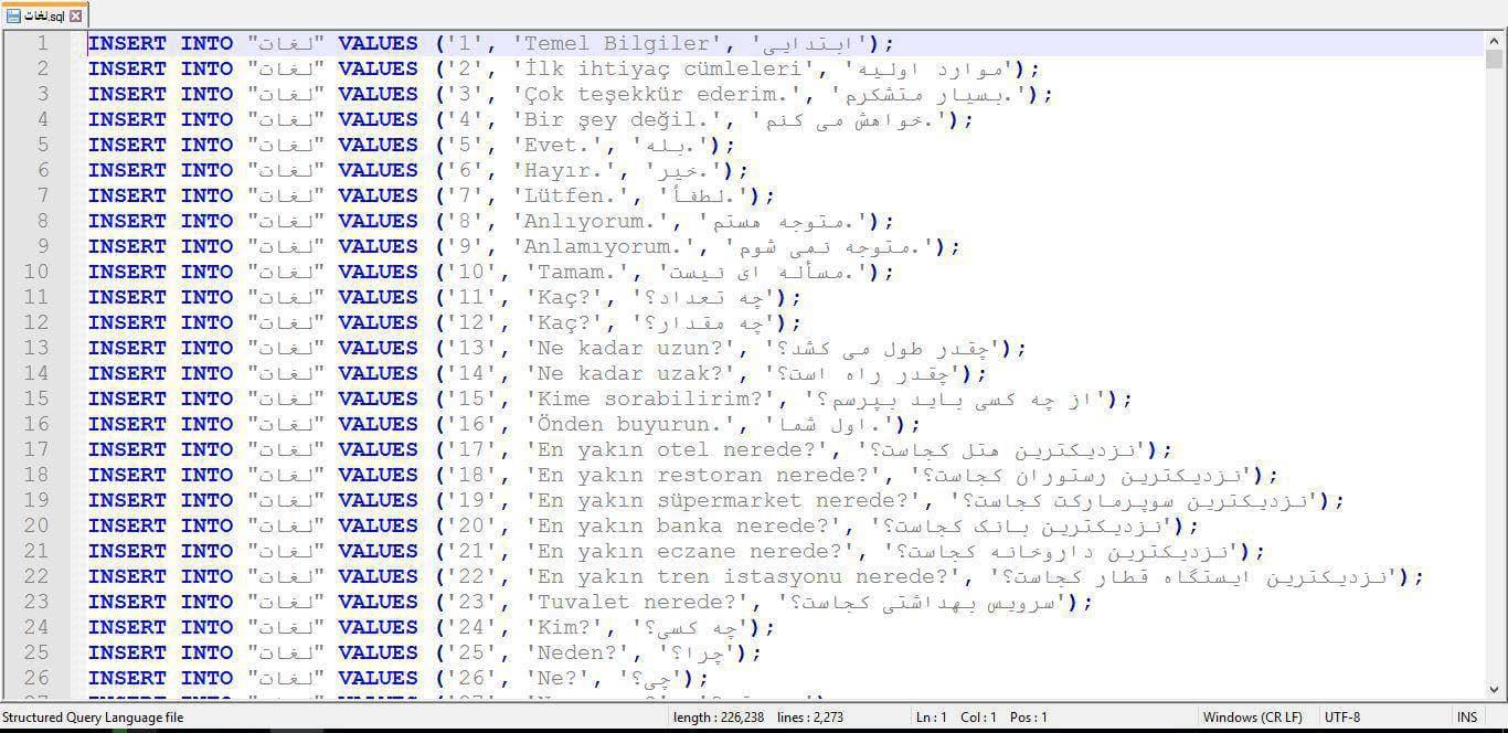 اسکرين شات ديتابيس فرهنگ لغت زبان ترکي به فارسي بصورت کامل در فرمت فايل sql