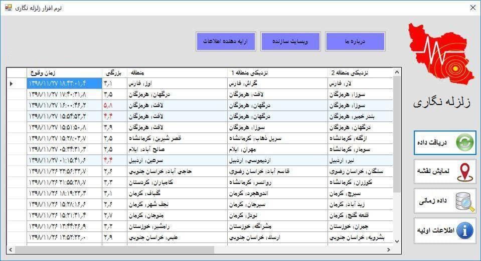 سورس کد نرم افزار زلزله نگاري