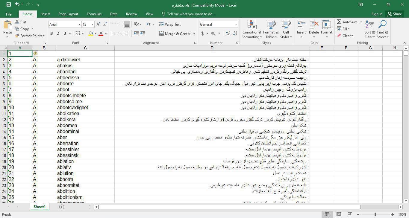اسکرين شات ديتابيس ديکشنري زبان سوئدي به فارسي در فرمت فايل Excel
