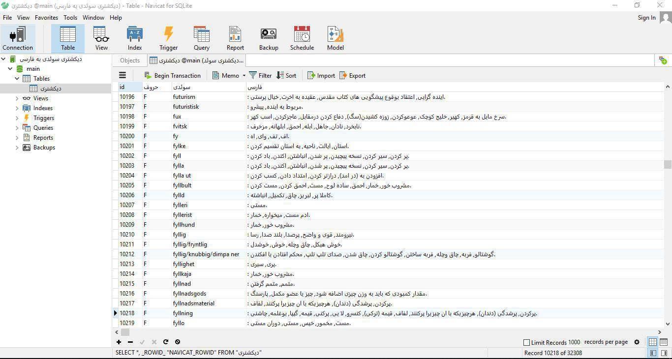 اسکرين شات ديتابيس ديکشنري زبان سوئدي به فارسي در فرمت فايل SQLite